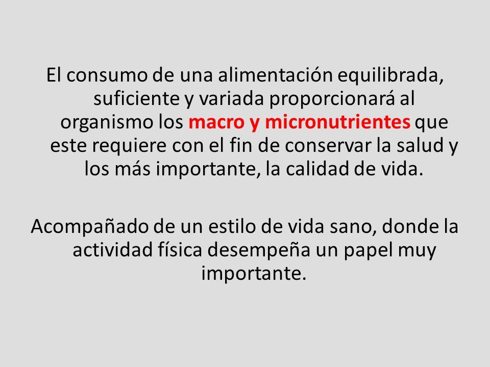 El consumo de una alimentación equilibrada, suficiente y variada proporcionará al organismo los macro y micronutrientes que este requiere con el fin d