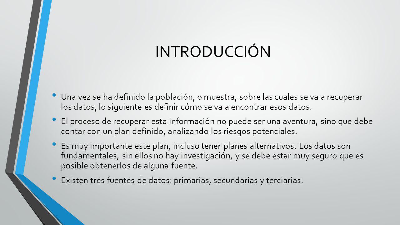 INTRODUCCIÓN Una vez se ha definido la población, o muestra, sobre las cuales se va a recuperar los datos, lo siguiente es definir cómo se va a encont