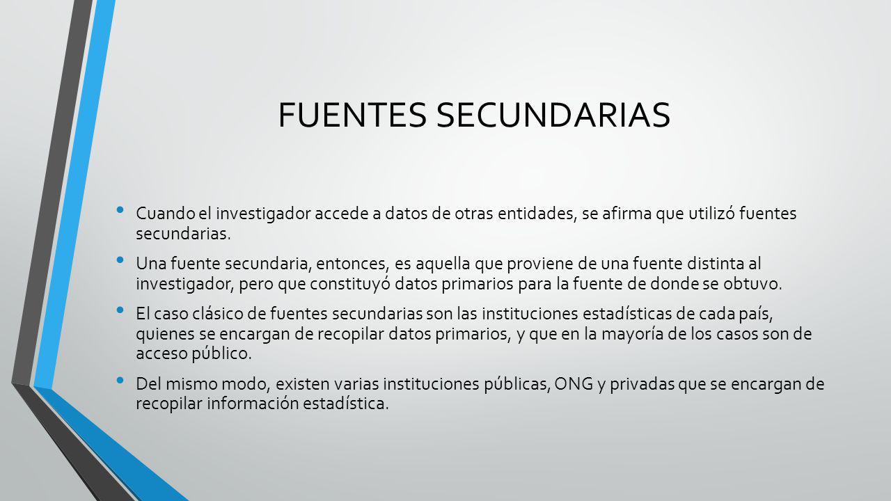 FUENTES SECUNDARIAS Cuando el investigador accede a datos de otras entidades, se afirma que utilizó fuentes secundarias. Una fuente secundaria, entonc