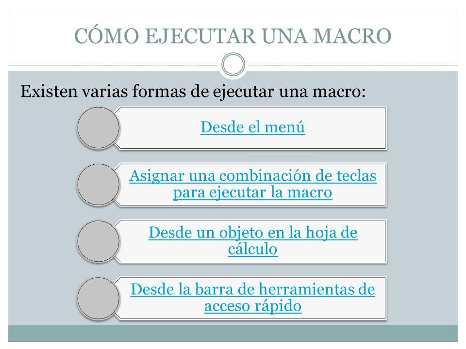 CÓMO EJECUTAR UNA MACRO Existen varias formas de ejecutar una macro: Desde el menú Asignar una combinación de teclas para ejecutar la macro Desde un o