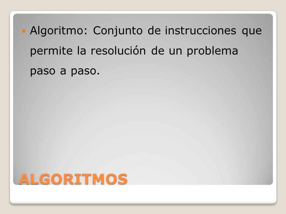 ALGORITMOS Algoritmo: Conjunto de instrucciones que permite la resolución de un problema paso a paso.