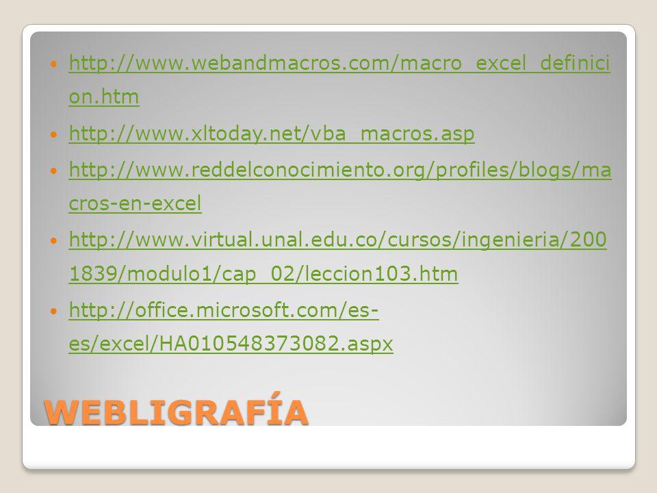 WEBLIGRAFÍA http://www.webandmacros.com/macro_excel_definici on.htm http://www.webandmacros.com/macro_excel_definici on.htm http://www.xltoday.net/vba