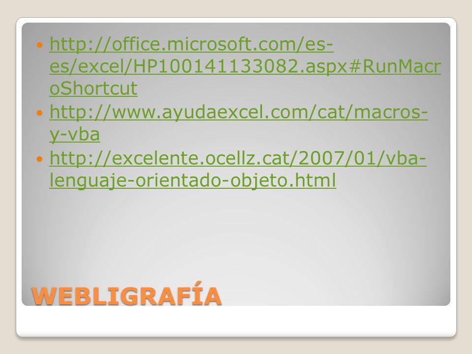 WEBLIGRAFÍA http://office.microsoft.com/es- es/excel/HP100141133082.aspx#RunMacr oShortcut http://office.microsoft.com/es- es/excel/HP100141133082.asp