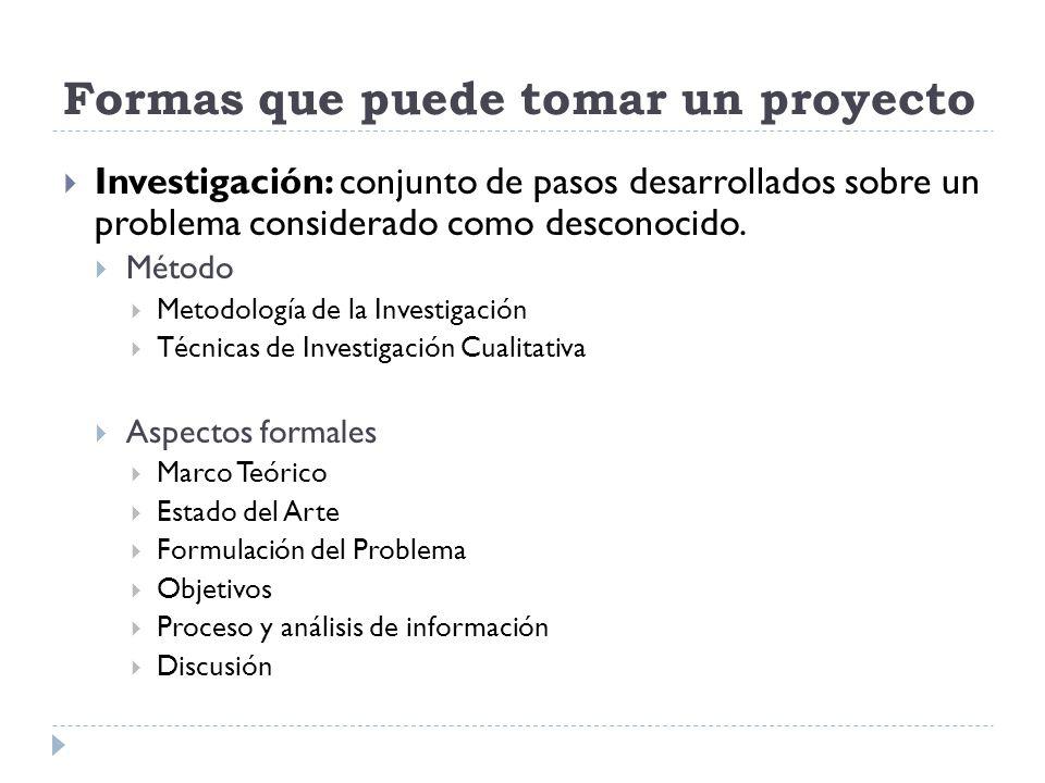 Formas que puede tomar un proyecto Investigación: conjunto de pasos desarrollados sobre un problema considerado como desconocido. Método Metodología d
