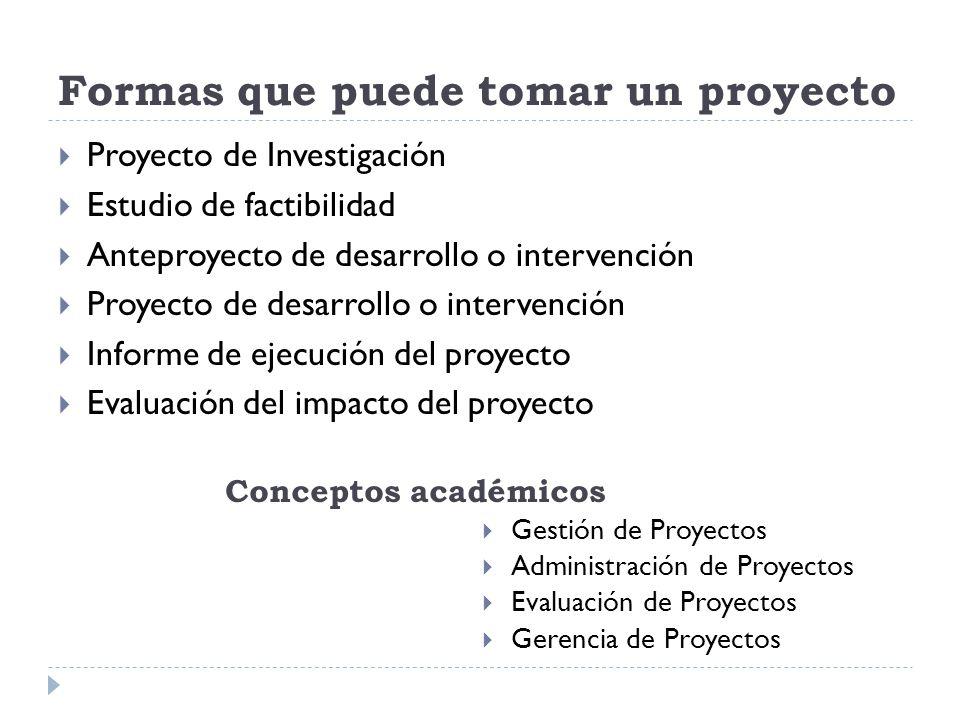 Formas que puede tomar un proyecto Proyecto de Investigación Estudio de factibilidad Anteproyecto de desarrollo o intervención Proyecto de desarrollo
