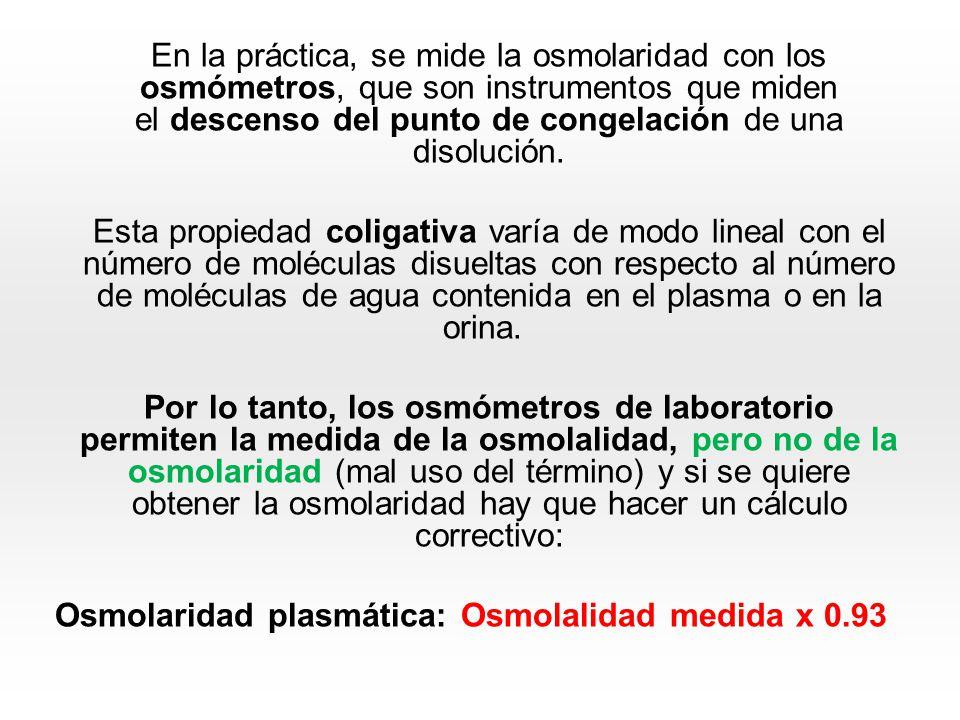 En la realidad, se dan las cifras obtenidas directamente del osmómetro y se hablará de osmolalidad que será informada mOsm/kg de agua plasmática.