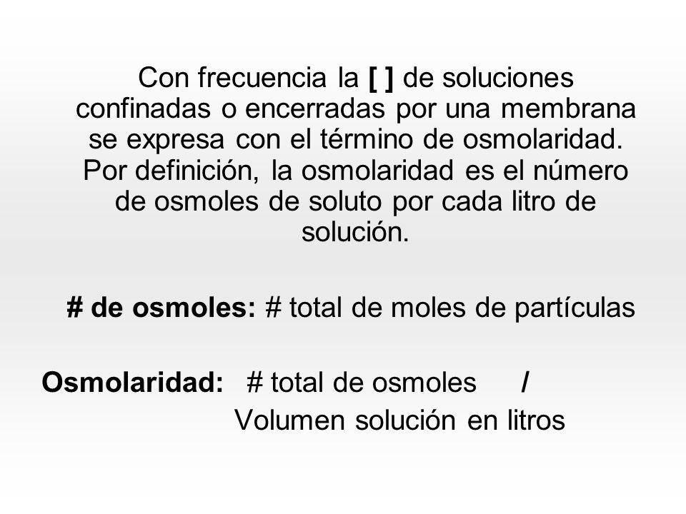 La osmolaridad es igual a la molaridad multiplicada por el número de partículas producidas cuando el soluto se disuelve; este número se representa por i y se llama el coeficiente de Van t´hoff Osm: M x i