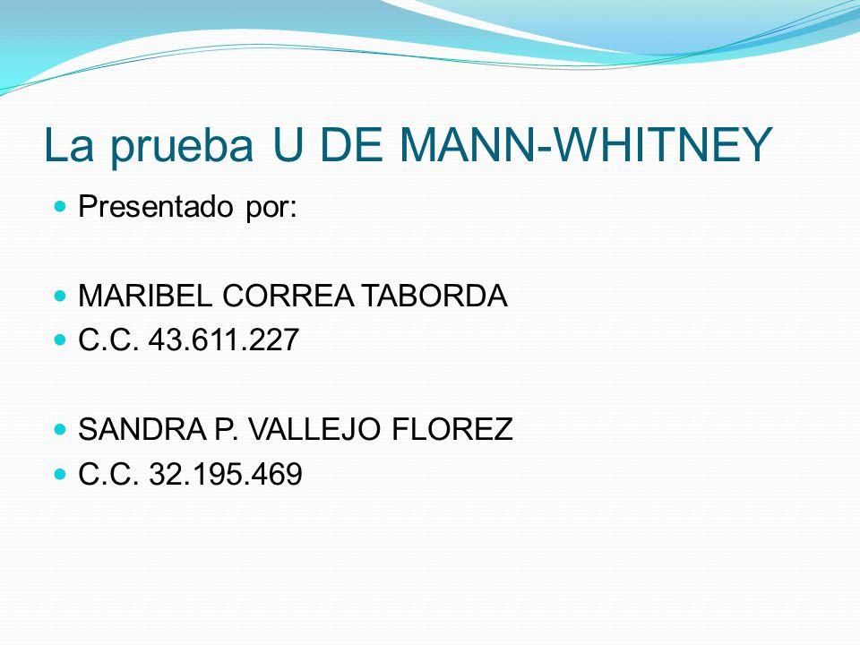 La prueba U DE MANN-WHITNEY Presentado por: MARIBEL CORREA TABORDA C.C. 43.611.227 SANDRA P. VALLEJO FLOREZ C.C. 32.195.469