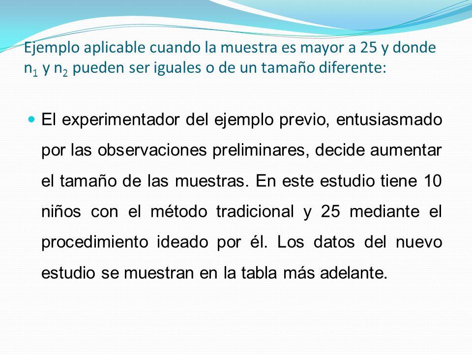 Ejemplo aplicable cuando la muestra es mayor a 25 y donde n 1 y n 2 pueden ser iguales o de un tamaño diferente: El experimentador del ejemplo previo,
