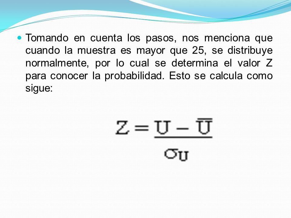 Tomando en cuenta los pasos, nos menciona que cuando la muestra es mayor que 25, se distribuye normalmente, por lo cual se determina el valor Z para c