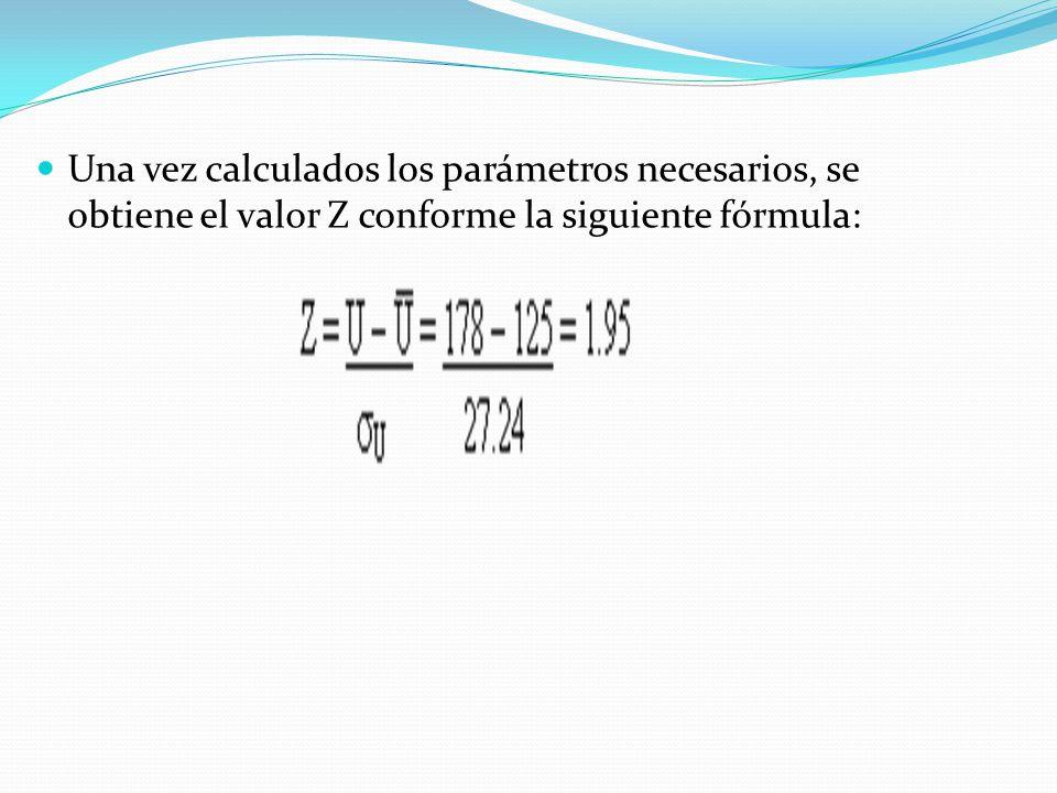 Una vez calculados los parámetros necesarios, se obtiene el valor Z conforme la siguiente fórmula: