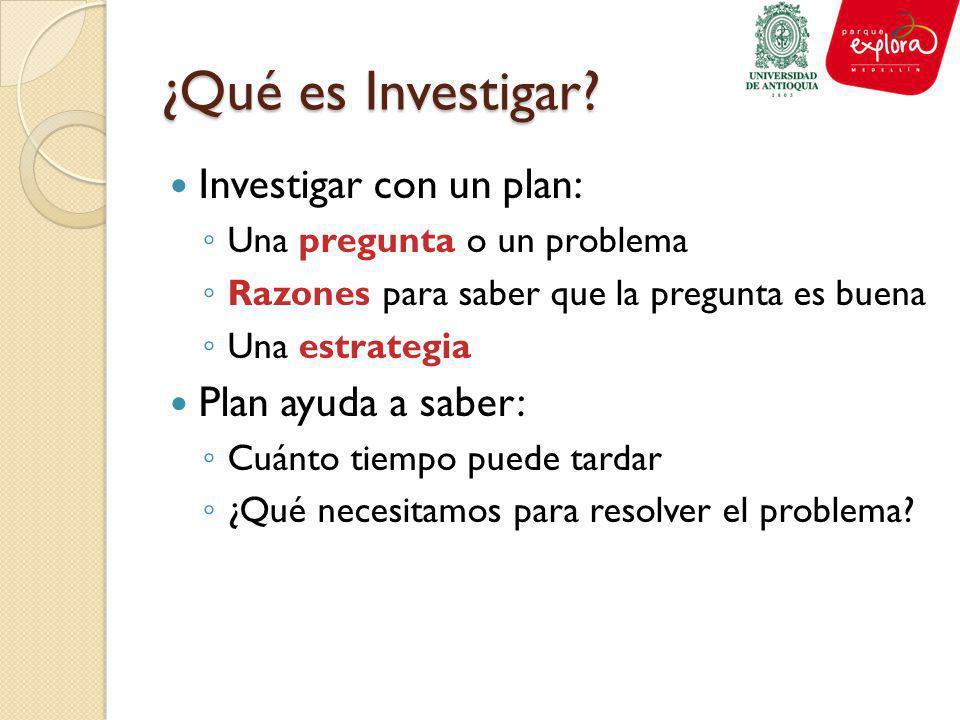¿Qué es Investigar? Investigar con un plan: Una pregunta o un problema Razones para saber que la pregunta es buena Una estrategia Plan ayuda a saber: