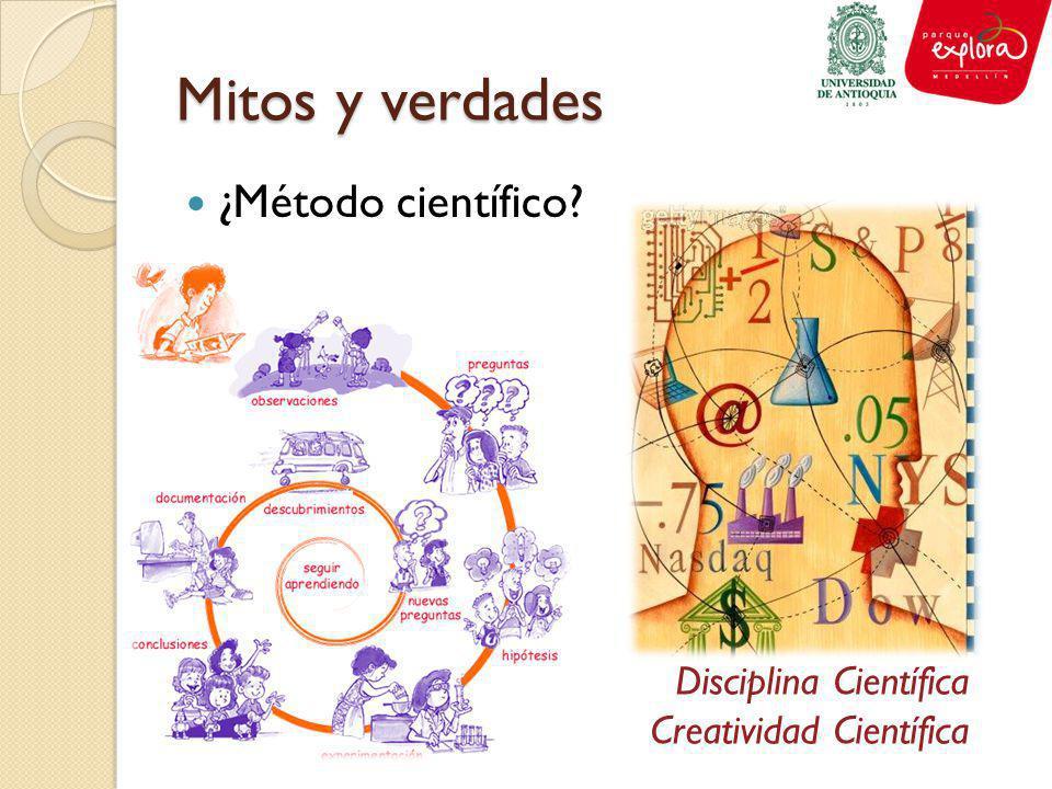 Mitos y verdades ¿Método científico? Disciplina Científica Creatividad Científica