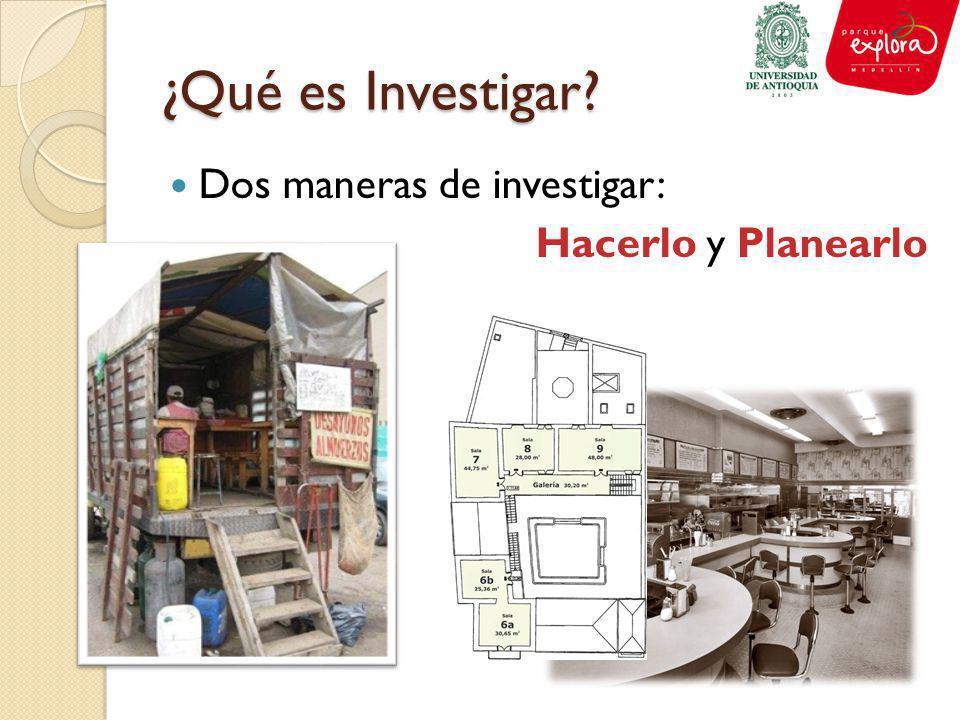 ¿Qué es Investigar? Dos maneras de investigar: Hacerlo y Planearlo