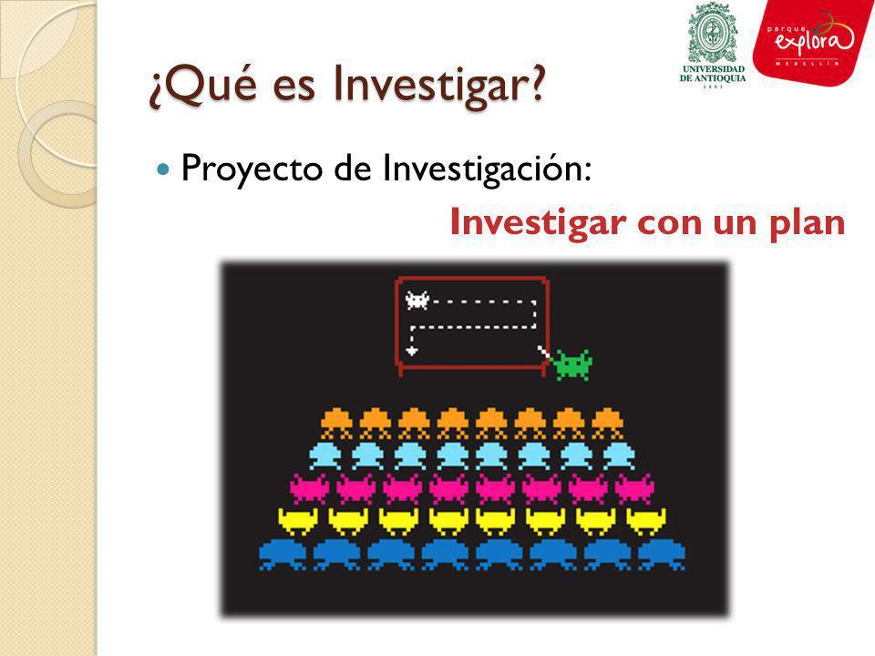 ¿Qué es Investigar? Proyecto de Investigación: Investigar con un plan