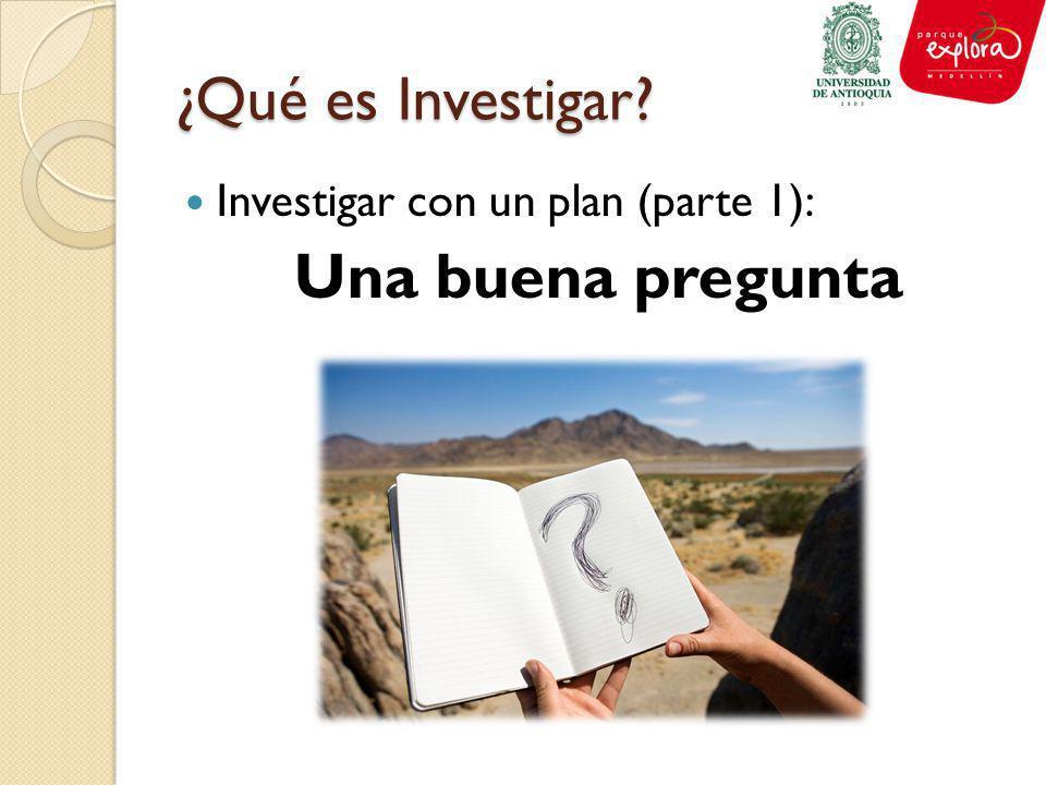 ¿Qué es Investigar? Investigar con un plan (parte 1): Una buena pregunta