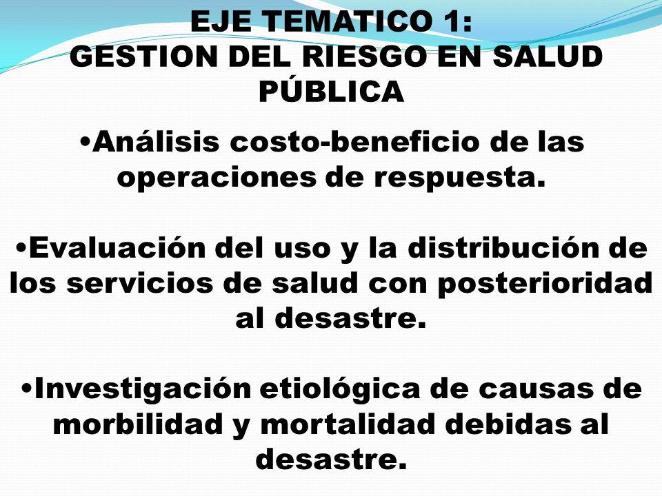 EJE TEMATICO 1: GESTION DEL RIESGO EN SALUD PÚBLICA Análisis costo-beneficio de las operaciones de respuesta. Evaluación del uso y la distribución de