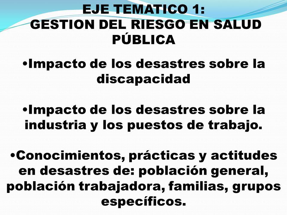 EJE TEMATICO 1: GESTION DEL RIESGO EN SALUD PÚBLICA Impacto de los desastres sobre la discapacidad Impacto de los desastres sobre la industria y los p