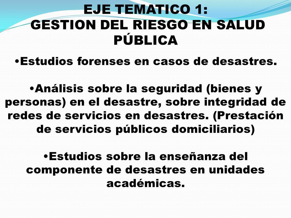 EJE TEMATICO 1: GESTION DEL RIESGO EN SALUD PÚBLICA Estudios forenses en casos de desastres. Análisis sobre la seguridad (bienes y personas) en el des