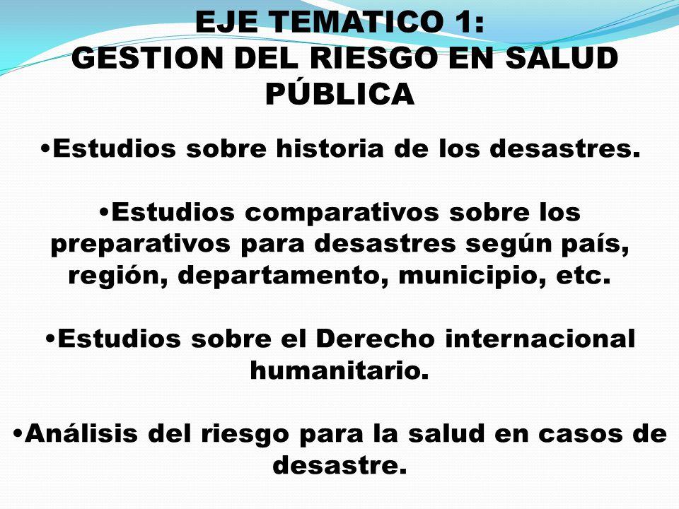 EJE TEMATICO 1: GESTION DEL RIESGO EN SALUD PÚBLICA Estudios sobre historia de los desastres. Estudios comparativos sobre los preparativos para desast
