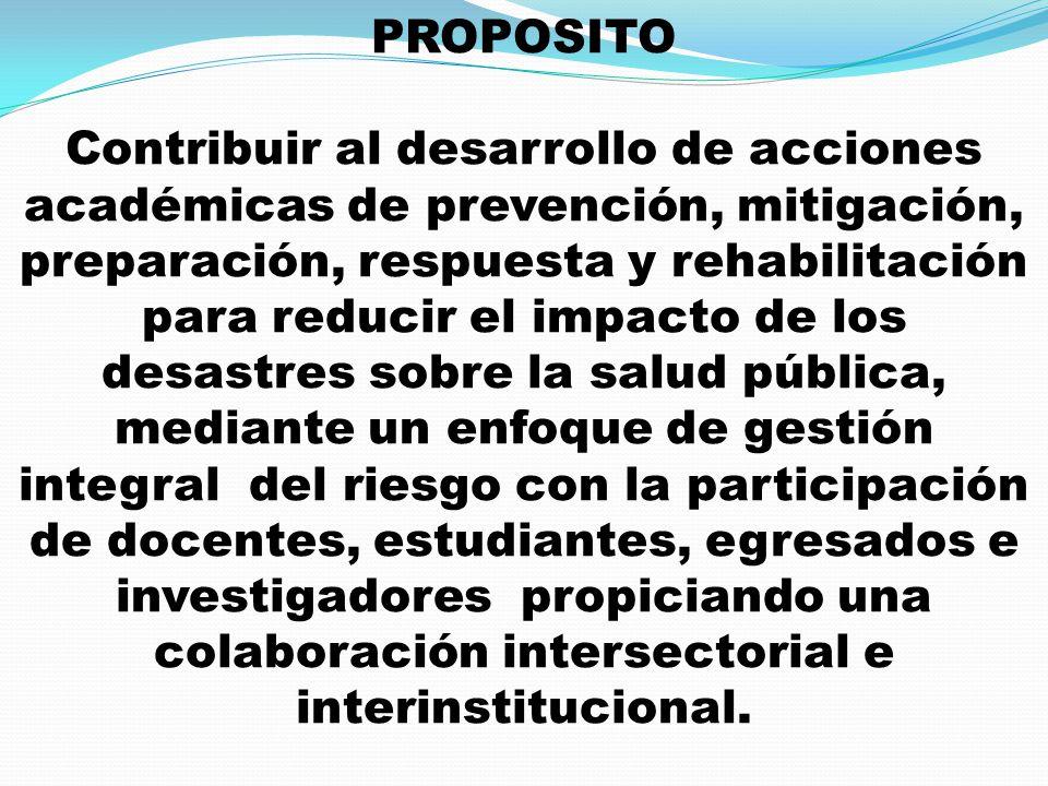 PROPOSITO Contribuir al desarrollo de acciones académicas de prevención, mitigación, preparación, respuesta y rehabilitación para reducir el impacto d