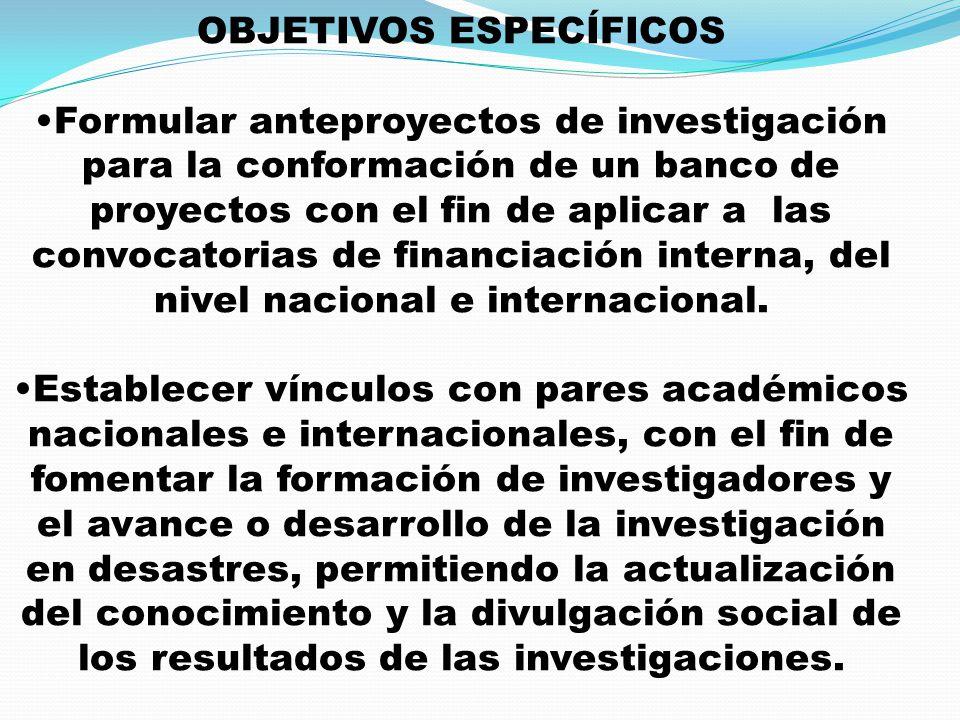 OBJETIVOS ESPECÍFICOS Formular anteproyectos de investigación para la conformación de un banco de proyectos con el fin de aplicar a las convocatorias