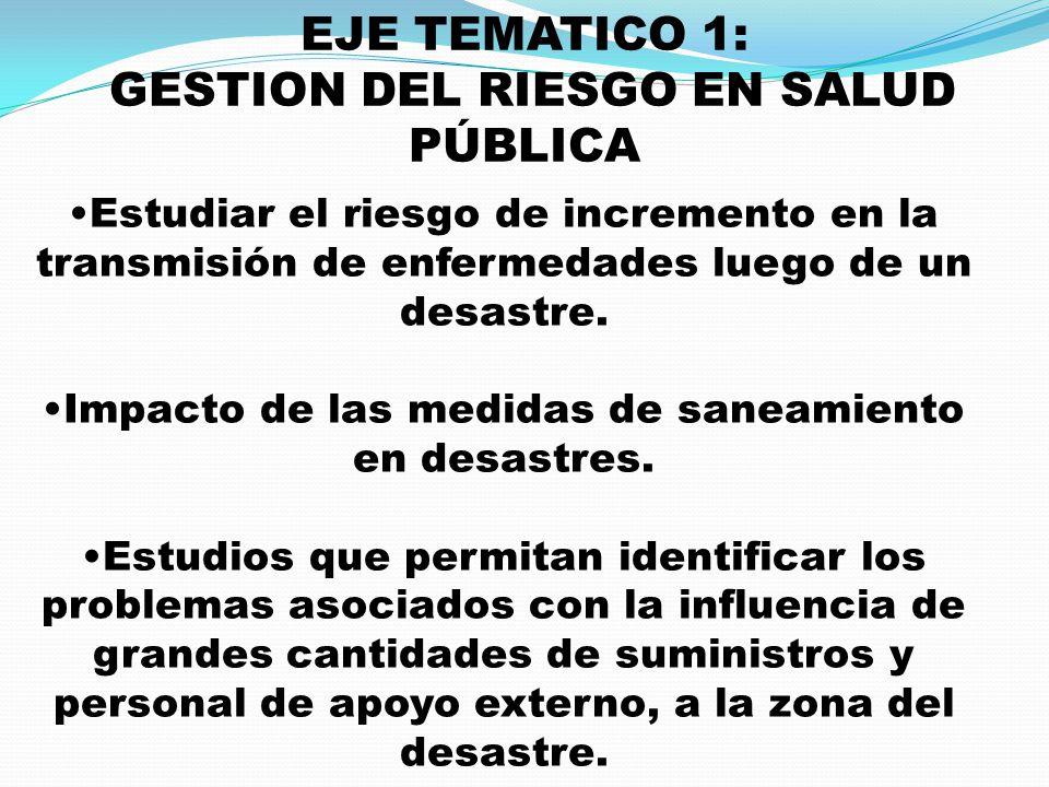 EJE TEMATICO 1: GESTION DEL RIESGO EN SALUD PÚBLICA Estudiar el riesgo de incremento en la transmisión de enfermedades luego de un desastre. Impacto d