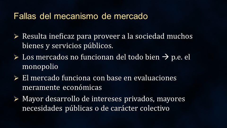 Fallas del mecanismo de mercado Resulta ineficaz para proveer a la sociedad muchos bienes y servicios públicos.