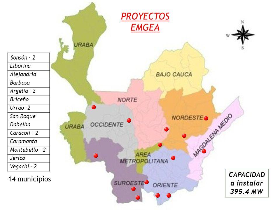 PROYECTOS EMGEA CAPACIDAD a instalar 395.4 MW Sonsón - 2 Liborina Alejandría Barbosa Argelia - 2 Briceño Urrao -2 San Roque Dabeiba Caracolí - 2 Caramanta Montebello – 2 Jericó Vegachí – 2 14 municipios