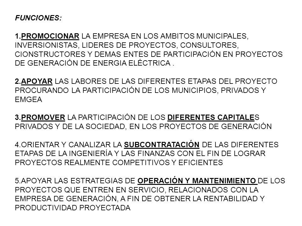 FUNCIONES: 1.PROMOCIONAR LA EMPRESA EN LOS AMBITOS MUNICIPALES, INVERSIONISTAS, LIDERES DE PROYECTOS, CONSULTORES, CIONSTRUCTORES Y DEMAS ENTES DE PARTICIPACIÓN EN PROYECTOS DE GENERACIÓN DE ENERGIA ELÉCTRICA.