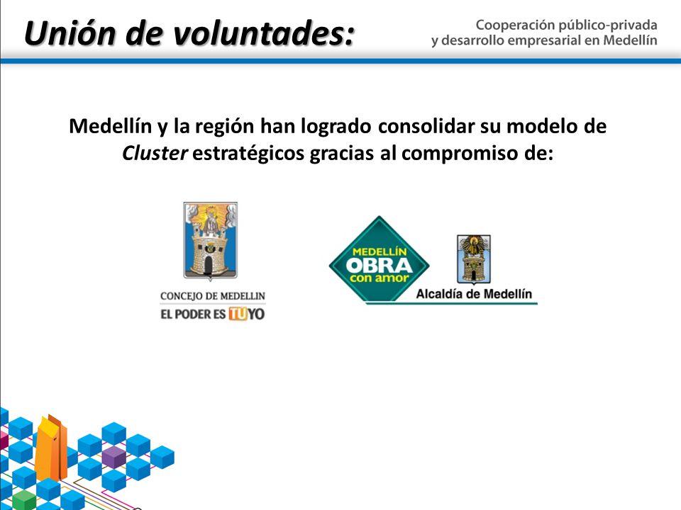 Unión de voluntades: Medellín y la región han logrado consolidar su modelo de Cluster estratégicos gracias al compromiso de: