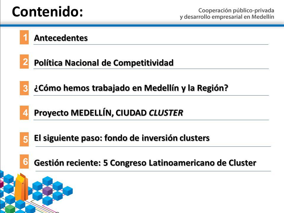 Contenido:Antecedentes Política Nacional de Competitividad ¿Cómo hemos trabajado en Medellín y la Región? Proyecto MEDELLÍN, CIUDAD CLUSTER El siguien