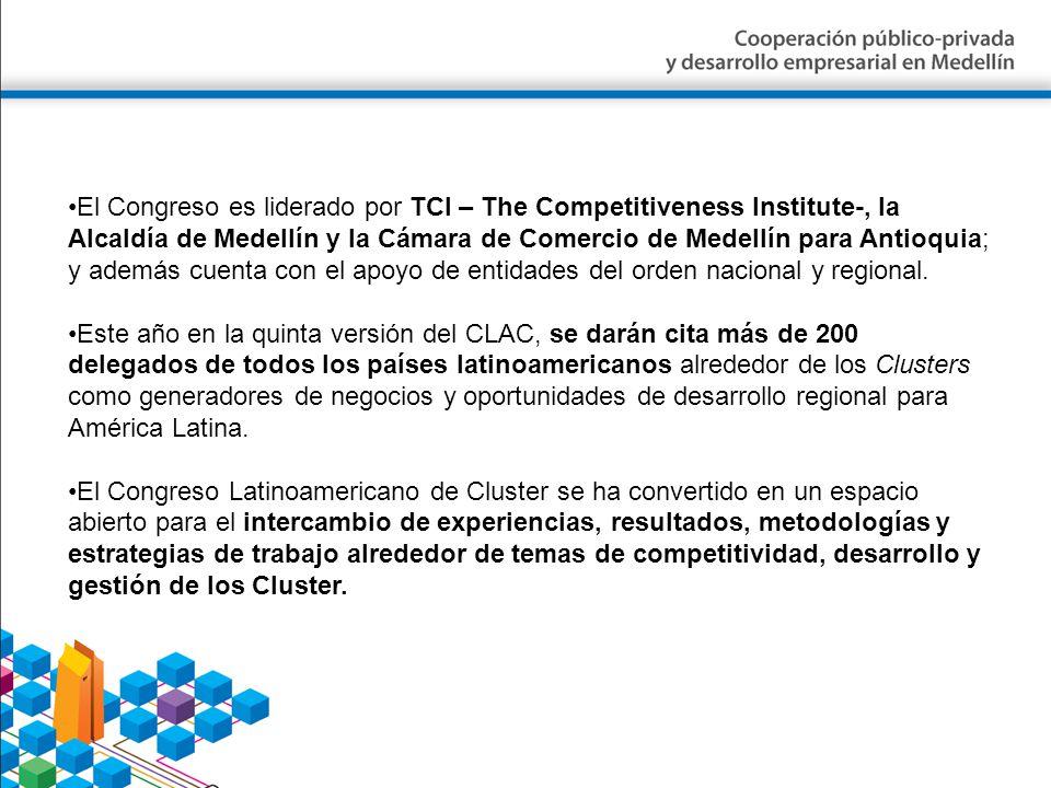El Congreso es liderado por TCI – The Competitiveness Institute-, la Alcaldía de Medellín y la Cámara de Comercio de Medellín para Antioquia; y además