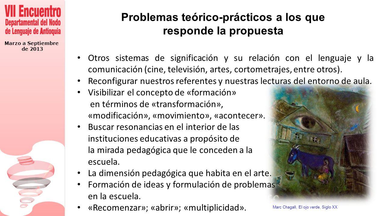 Marzo a Septiembre de 2013 Problemas teórico-prácticos a los que responde la propuesta Otros sistemas de significación y su relación con el lenguaje y la comunicación (cine, televisión, artes, cortometrajes, entre otros).