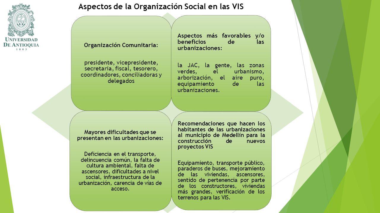 Aspectos de la Organización Social en las VIS Organización Comunitaria: presidente, vicepresidente, secretaria, fiscal, tesorero, coordinadores, conci