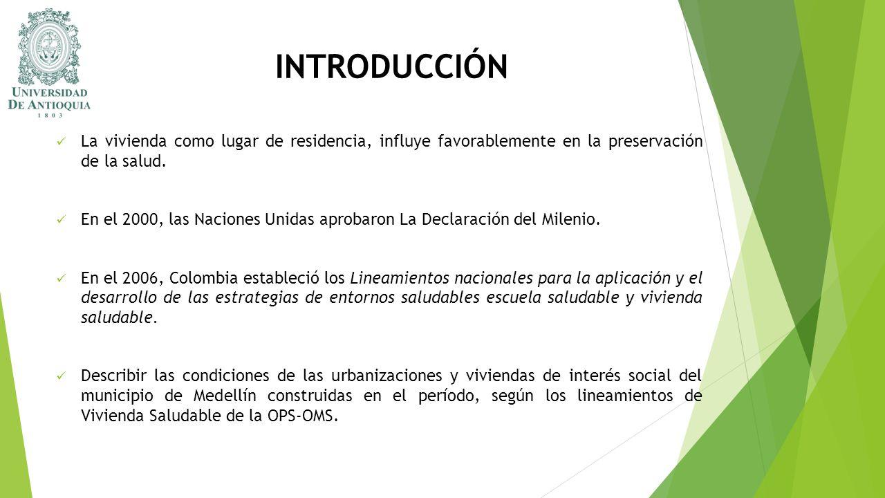 INTRODUCCIÓN La vivienda como lugar de residencia, influye favorablemente en la preservación de la salud. En el 2000, las Naciones Unidas aprobaron La