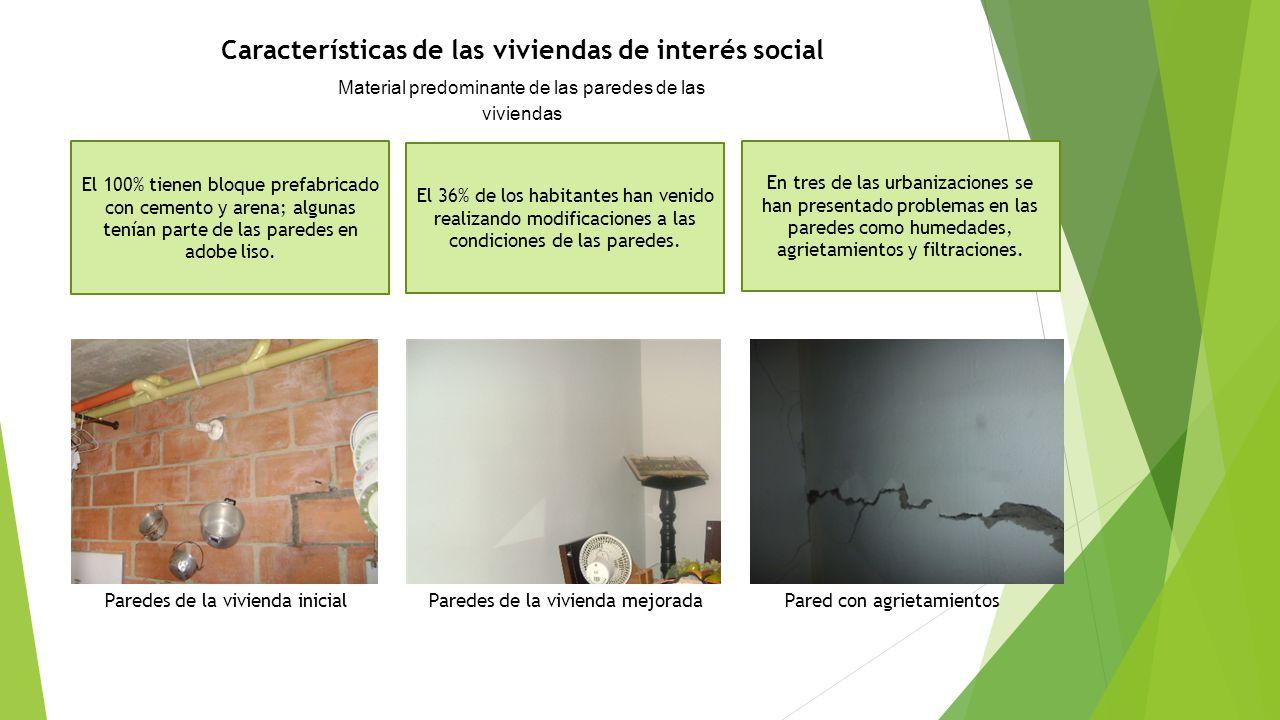 Características de las viviendas de interés social Material predominante de las paredes de las viviendas El 100% tienen bloque prefabricado con cement