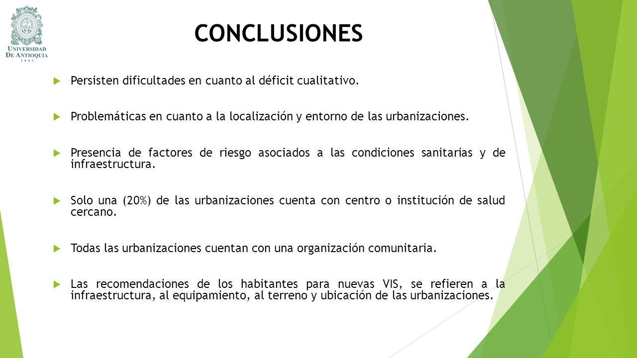 CONCLUSIONES Persisten dificultades en cuanto al déficit cualitativo. Problemáticas en cuanto a la localización y entorno de las urbanizaciones. Prese