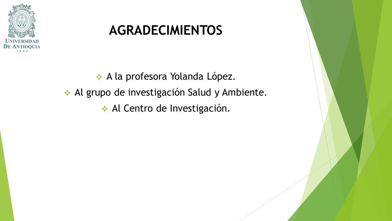 AGRADECIMIENTOS A la profesora Yolanda López. Al grupo de investigación Salud y Ambiente. Al Centro de Investigación.