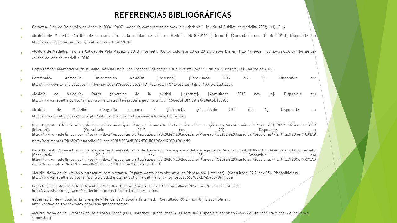 Gómez A. Plan de Desarrollo de Medellín 2004 – 2007 Medellín compromiso de toda la ciudadanía. Rev Salud Pública de Medellín 2006; 1(1): 9-14 Alcaldía