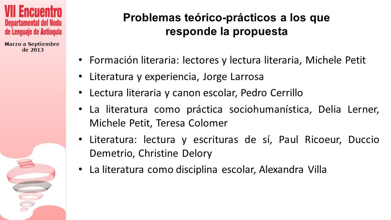 Marzo a Septiembre de 2013 Problemas teórico-prácticos a los que responde la propuesta Formación literaria: lectores y lectura literaria, Michele Peti