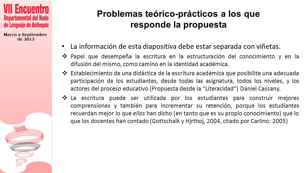 Marzo a Septiembre de 2013 Problemas teórico-prácticos a los que responde la propuesta La información de esta diapositiva debe estar separada con viñetas.