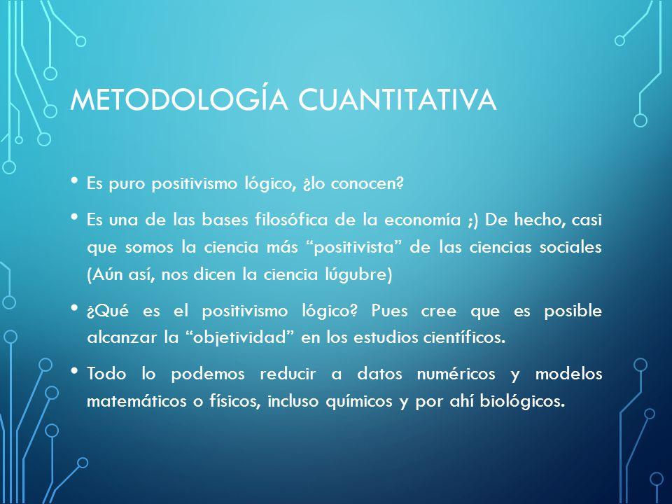 METODOLOGÍA CUANTITATIVA Es puro positivismo lógico, ¿lo conocen.