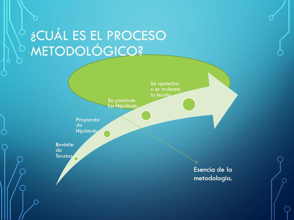 ¿CUÁL ES EL PROCESO METODOLÓGICO? Revisió n de Teorías Propuesta de Hipótesis Se prueban las Hipótesis. Se aprueba o se rechaza la teoría. Esencia de