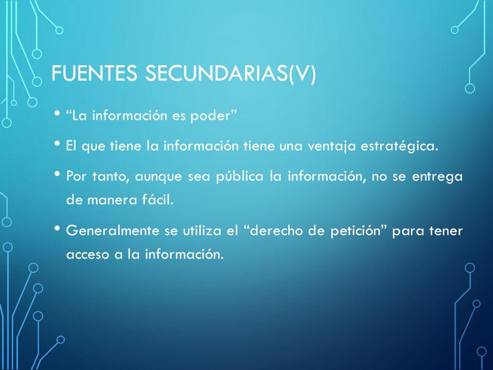 FUENTES SECUNDARIAS(V) La información es poder El que tiene la información tiene una ventaja estratégica. Por tanto, aunque sea pública la información