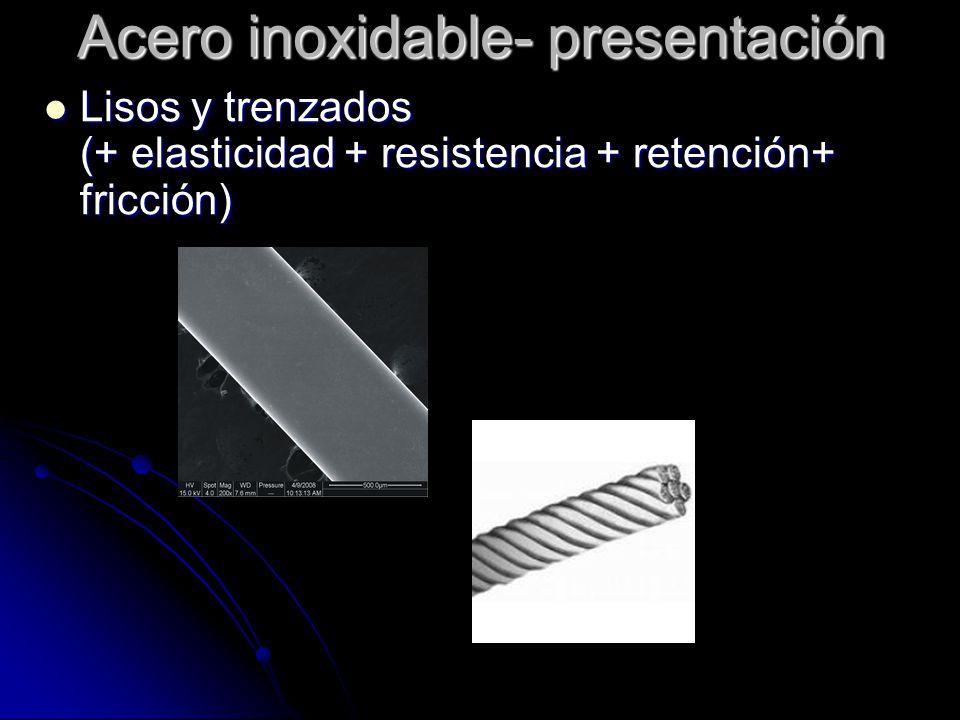 Acero inoxidable- presentación Tratamiento térmico ( templado) Bajo: Ligadura Tratamiento térmico ( templado) Bajo: Ligadura Regular: Arcos y pies Alto: Pinzas Regular: Arcos y pies Alto: Pinzas
