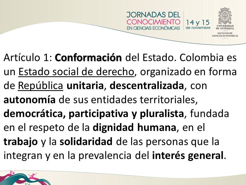 Conformación Artículo 1: Conformación del Estado. Colombia es un Estado social de derecho, organizado en forma de República unitaria, descentralizada,