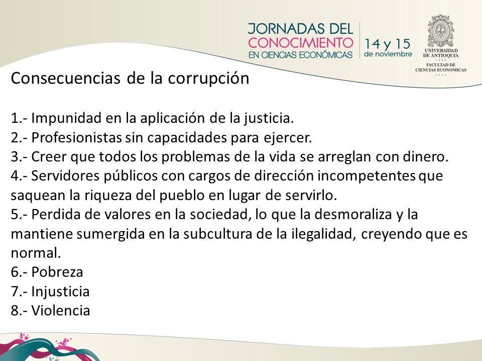 Consecuencias de la corrupción 1.- Impunidad en la aplicación de la justicia. 2.- Profesionistas sin capacidades para ejercer. 3.- Creer que todos los
