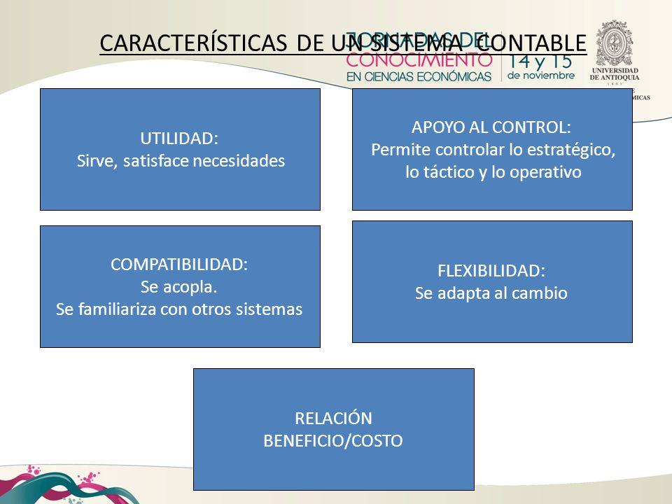 CARACTERÍSTICAS DE UN SISTEMA CONTABLE APOYO AL CONTROL: Permite controlar lo estratégico, lo táctico y lo operativo UTILIDAD: Sirve, satisface necesi