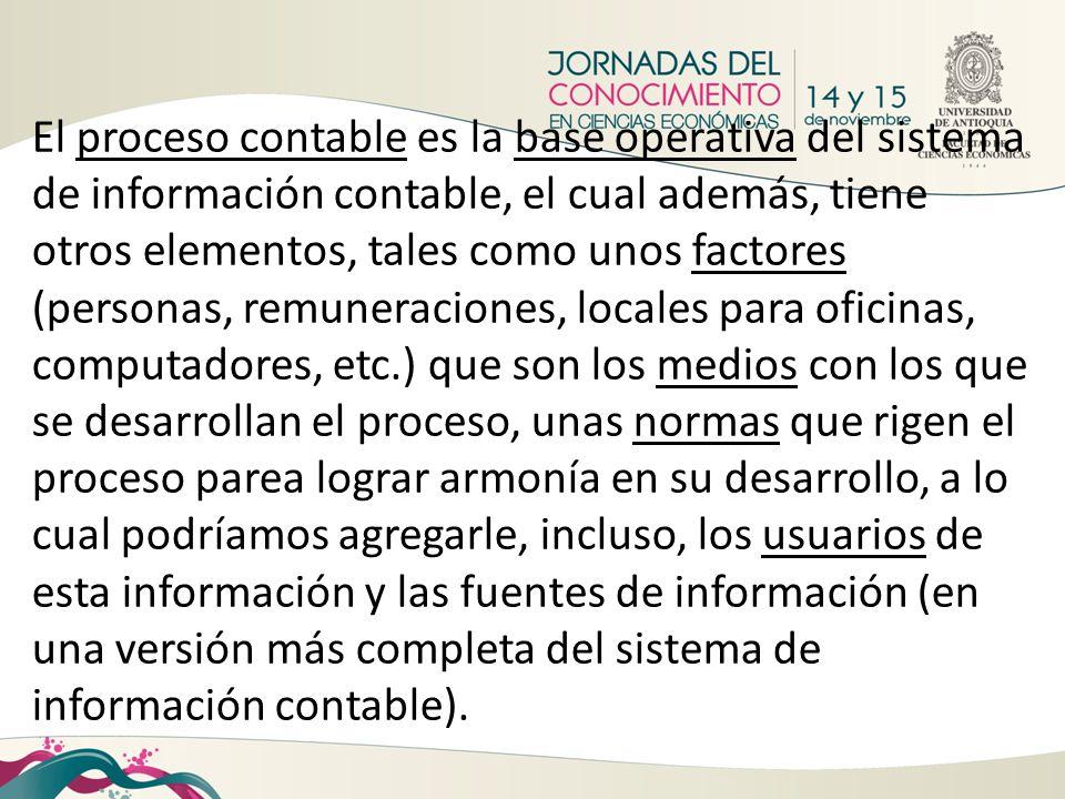 El proceso contable es la base operativa del sistema de información contable, el cual además, tiene otros elementos, tales como unos factores (persona